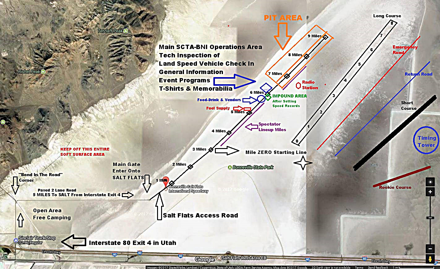 Layout Map of Bonneville Salt Flats