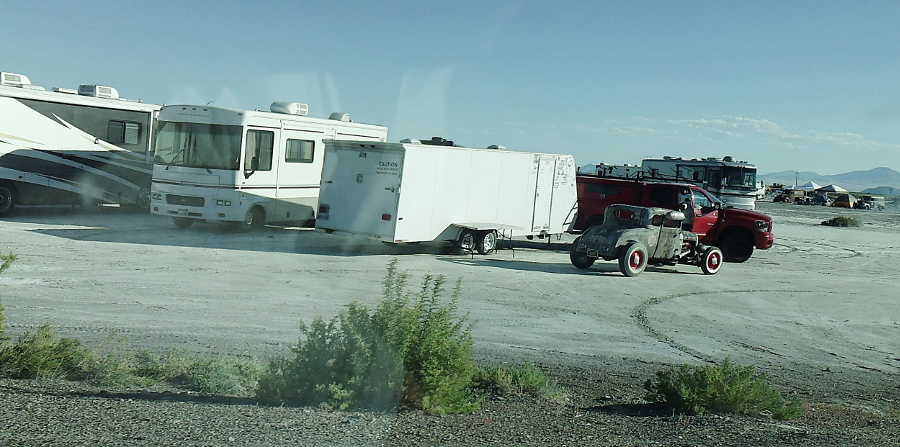 Camping along Bonneville Salt Flats Access Road