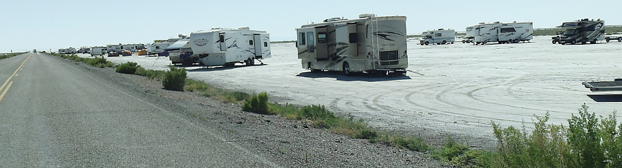 Camping Along Access Road To Bonneville Salt Flats Speed Week