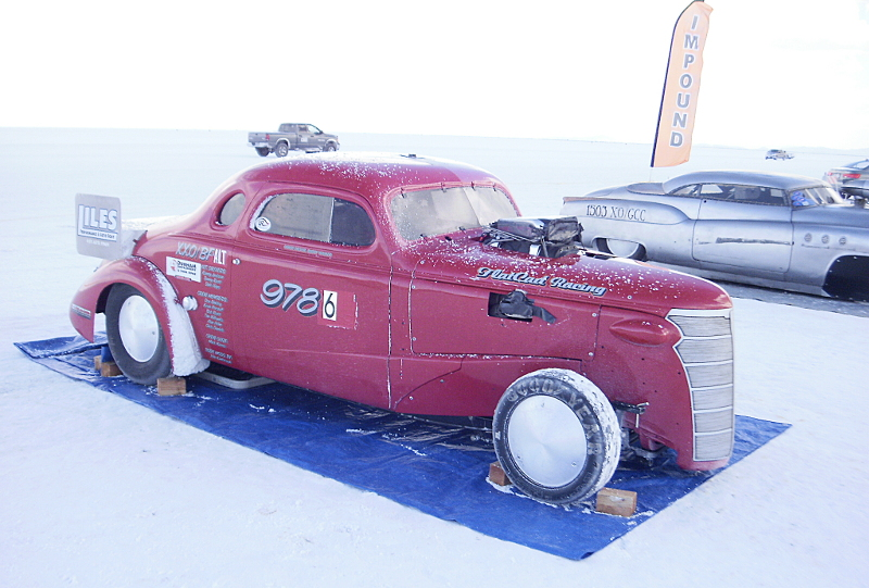 Record Setting Cars at  Impound at Bonneville Salt Flats